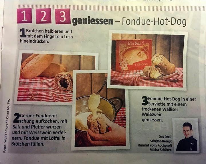 szwajcarski hotdog z serem fondue